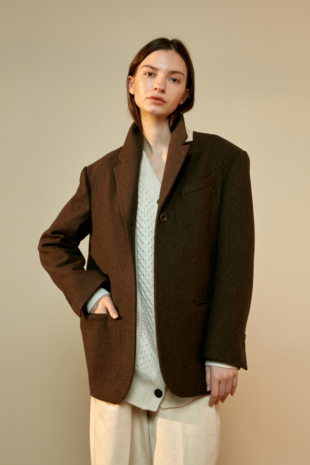 unit | Jacket S Button Wine Brown