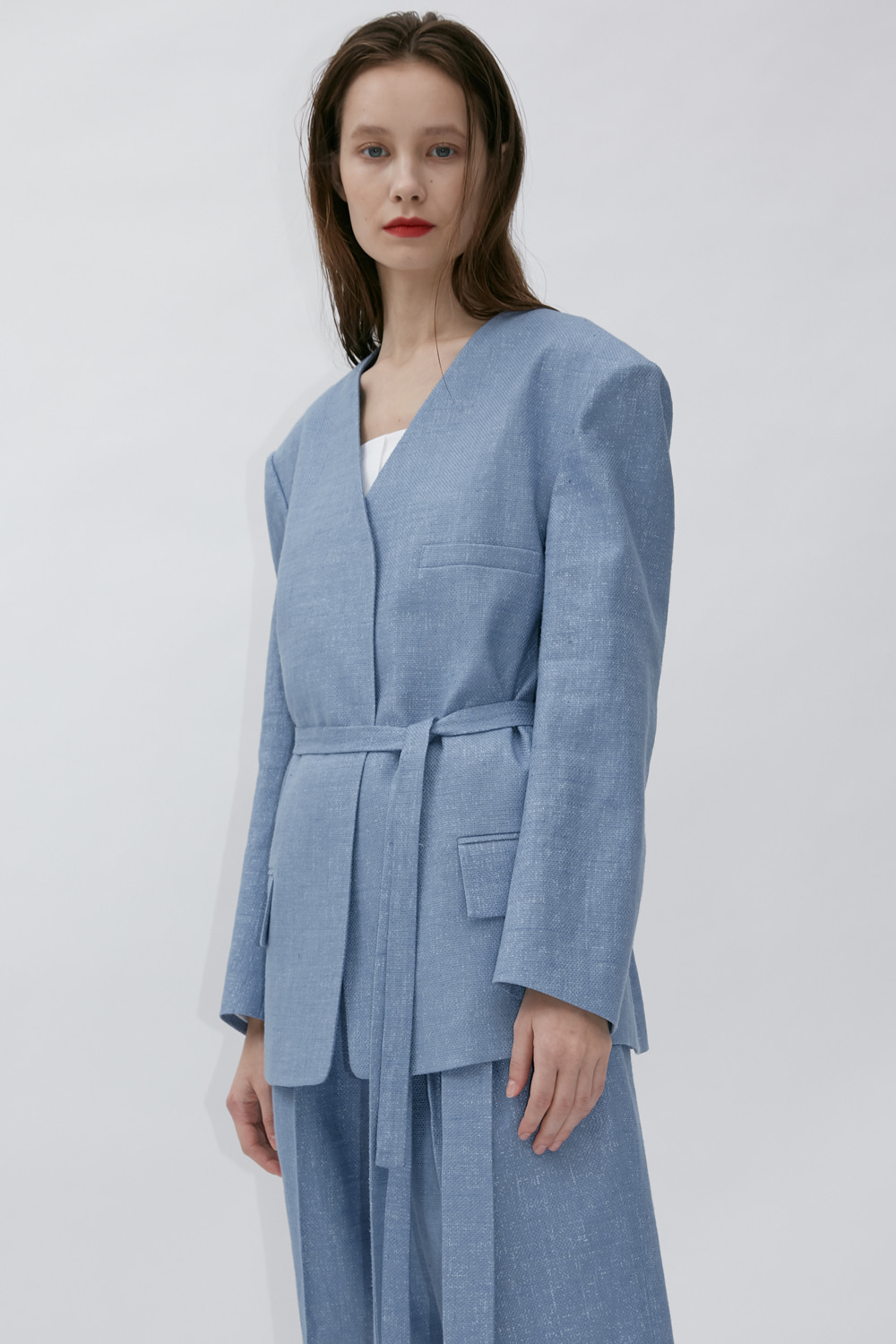Jacket Collarless S Blue
