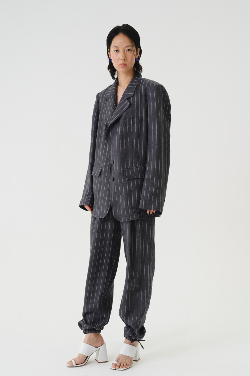 Pants Stripe Linen Charcoal Gray